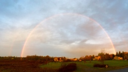 A double rainbow just after sunrise, shot with iPhone 5s pano and edited in Apple Photos.